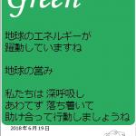 今日のテーマカラー:緑「あわてず穏やかにいこう」